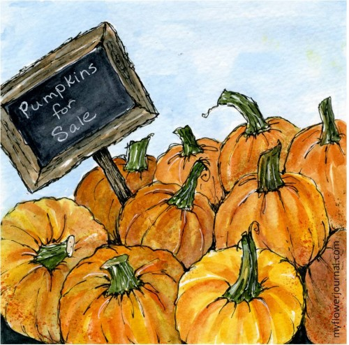 Pumpkins for Sale-Fall Watercolor Journal Page-myflowerjournal