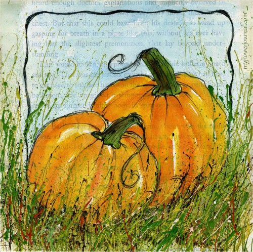 Watercolor on gesso my flower journal Flower painted pumpkins