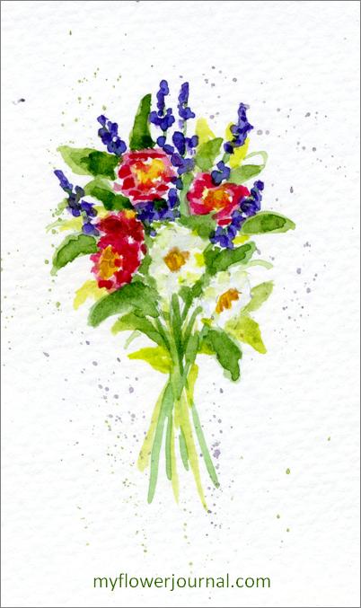 Small Watercolor Flower Bouquet-myflowerjournal.jcom