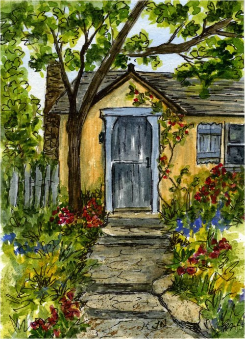 Watercolor sketch of Sunwise Turn cottage from Carmel-by-the-Sea-myflowerjournal