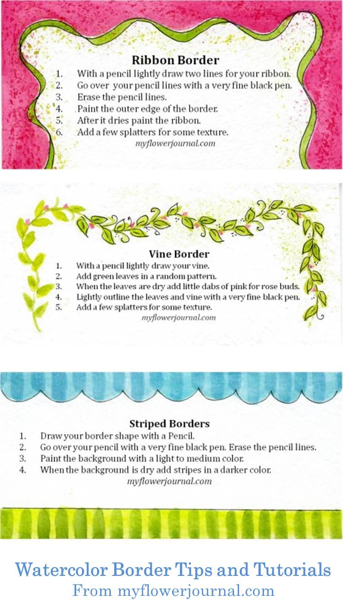 This site has some great tips and tutorials. I love the watercolor border ideas. They will look great in my art journal.
