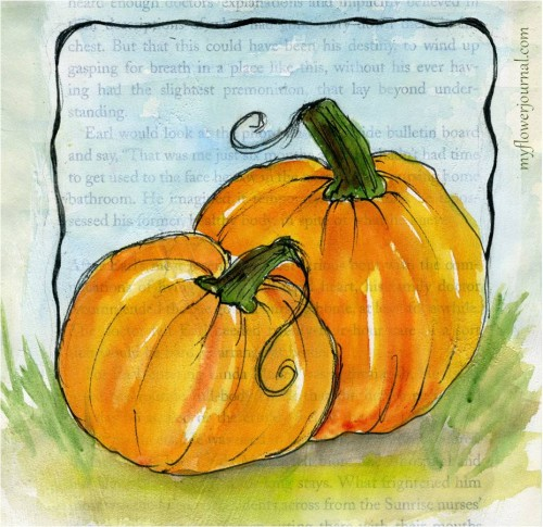 Watercolor pumpkins painted on an old book page covered with gesso-myflowerjournal.com
