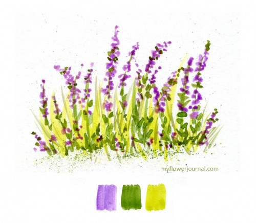 Wildflowers in Watercolor painted from color swatches-myflowerjournal