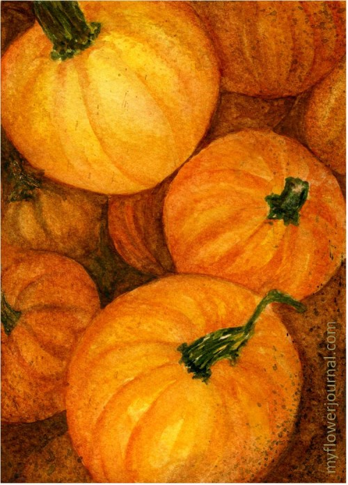 Fall Pumpkins in Watercolor-myflowerjournal.com