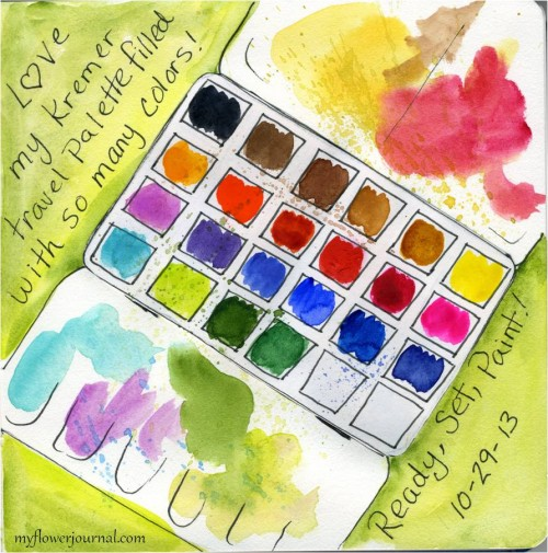 Joanne Sharp Art Journaling Class-Love my Kremer Travel Watercolor Palette-myflowerjournal.com