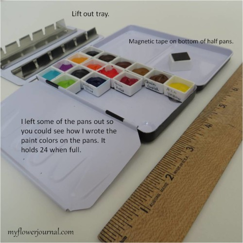 My Kremer watercolor palette for on the go watercolor filled with my favorite colors. Holds 24 half pans. myflowerjournal