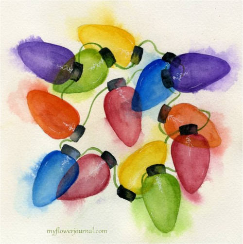 Painting Watercolor Christmas Lights That Glow-myflowerjournal