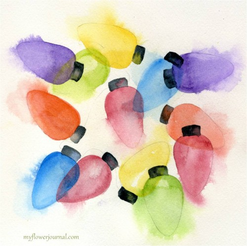 Watercolor Christmas Lights That Glow-myflowerjournal.com