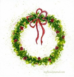 How To Paint A Watercolor Christmas Wreath-myflowerjournal