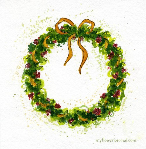 Tutorial to paint a watercolor Christmas Wreath-myflowerjournal