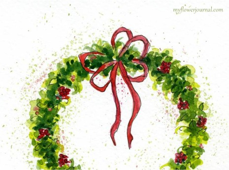 Watercolor Christmas Wreath-myflowerjournal