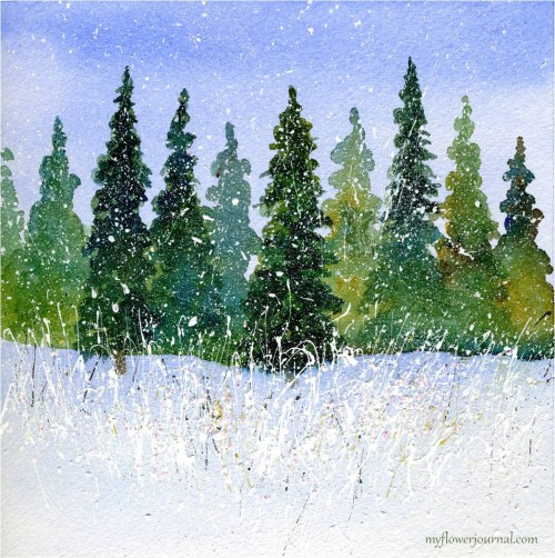 Winter Wondrland Watercolor with Splattered Acylic Paint-myflowerjournal.com