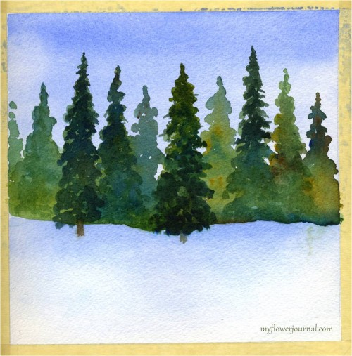 Winter watercolor ready to add splattered acrylic paint-myflowerjournal