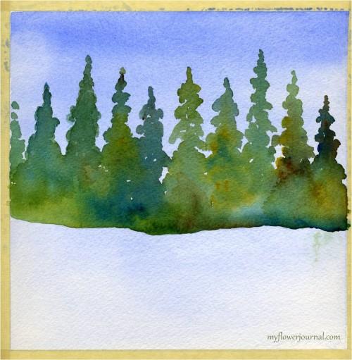 Winter wonderland watercolor underpainting-myflowerjournal.com