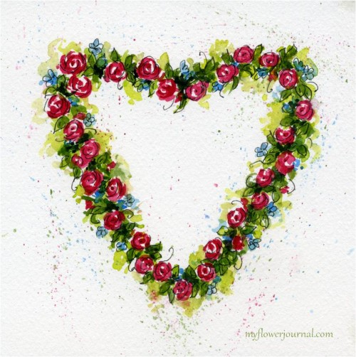 How To Paint Watercolor Hearts and Roses-myflowerjournal.com