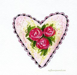 Painting Hearts and Roses Tutorial-myflowerjournal