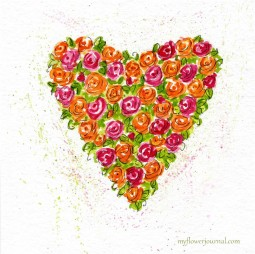 Painting Watercolor Hearts and Roses-myflowerjournal