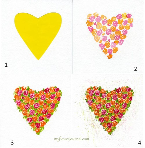 Step by step how to paint a watercolor hearts and roses-myflowerjournal.com