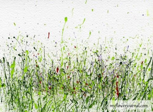 Splatter paint for wildflower background then use markers to add flowers-myflowerjournal.com
