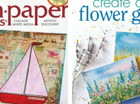 Learn how I turn paint splatters into flower art in  the 2014 July August issue of the Cloth Paper Scissors Magazine   myflowerjournal.com
