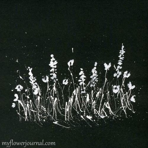 Simple imitation chalk art Splatter Paint Flowers-myflowerjournal.com