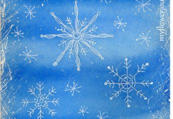 Snowflake Doodles on a Watercolor Background