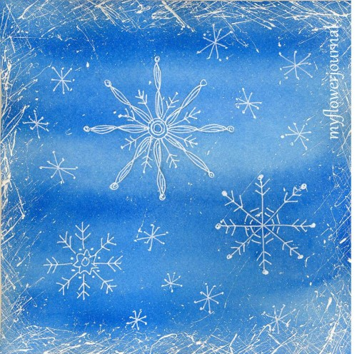 Snowflake Doodle Art on Winter Watercolor Background with Splattered Paint Border-a fun art project for children and adults-myflowerjournal.com
