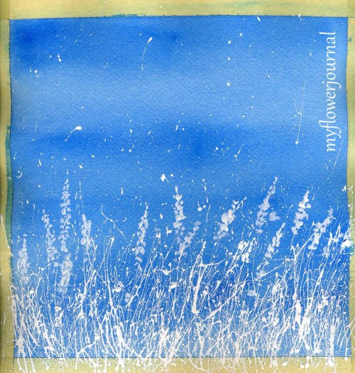 Tutorial: Winter Watercolor of Snowy field with Splattered Acrylic Paint-myflowerjournal.com