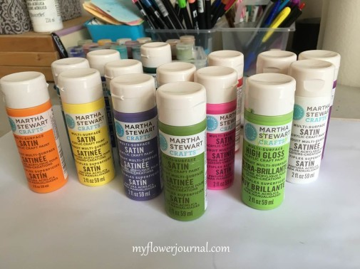 Martha Stewart Satin Acrylic Paints I use for my Splatter Painting-myflowerjournal