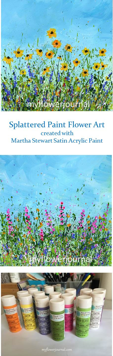 Splattered Paint Flower Art created with Martha Stewart Satin Acrylic Paint-myflowerjournal