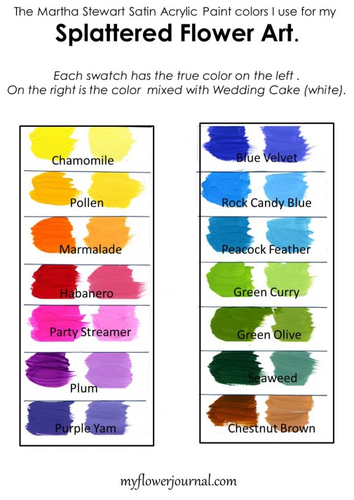 The Martha Stewart Satin Acrylic Paint Colors I use for my Splattered Flower Art from myflowerjournal