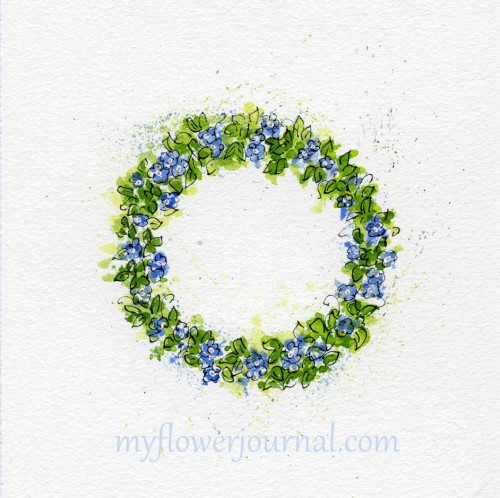 Forget Me Not Flower Art-Watercolor Flower Wreath-myflowerjournal.com