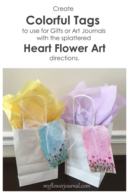 Create colorful tags to use for gifts and art journals with the splattered heart art directions-myflowerjournal