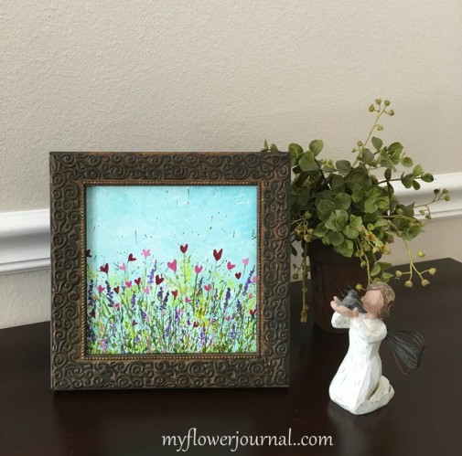 Framed Flower Heart Art With Splattered Acrylic Paint-myflowerjournal