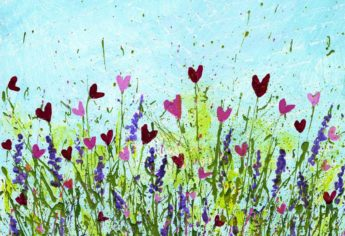 How To Create Flower Heart Art With Splattered Paint