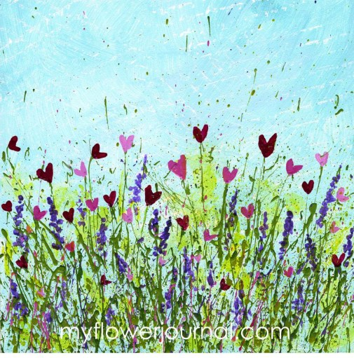 How To Create Flower Heart Art with Splattered Acrylic Paint-myflowerjournal