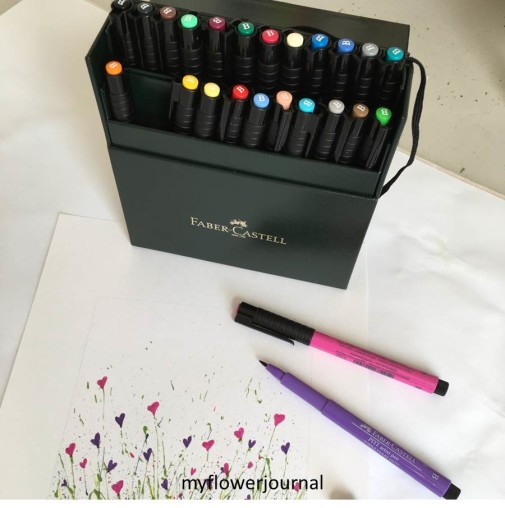 Use Markers to add flowers to free splattered paint printable from myflowerjournal
