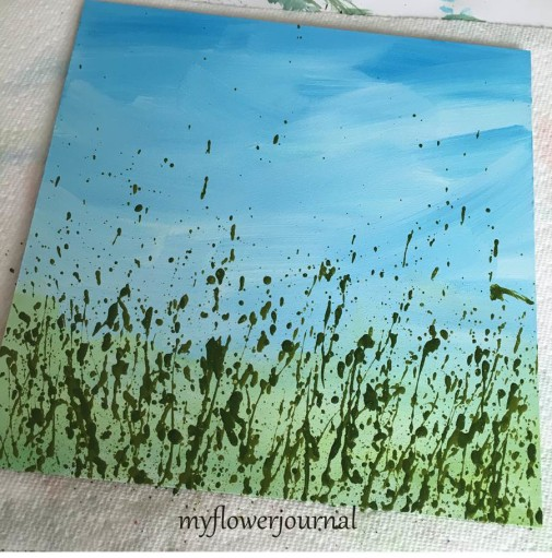 How to Splatter Golden Fluid Acrylics for Flower Art-myflowerjournal