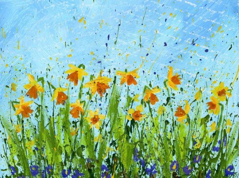 You can create this beautiful Daffodil Splattered Paint Flower Art using the easy 4 step daffodil doodle tutorial from myflowerjournal