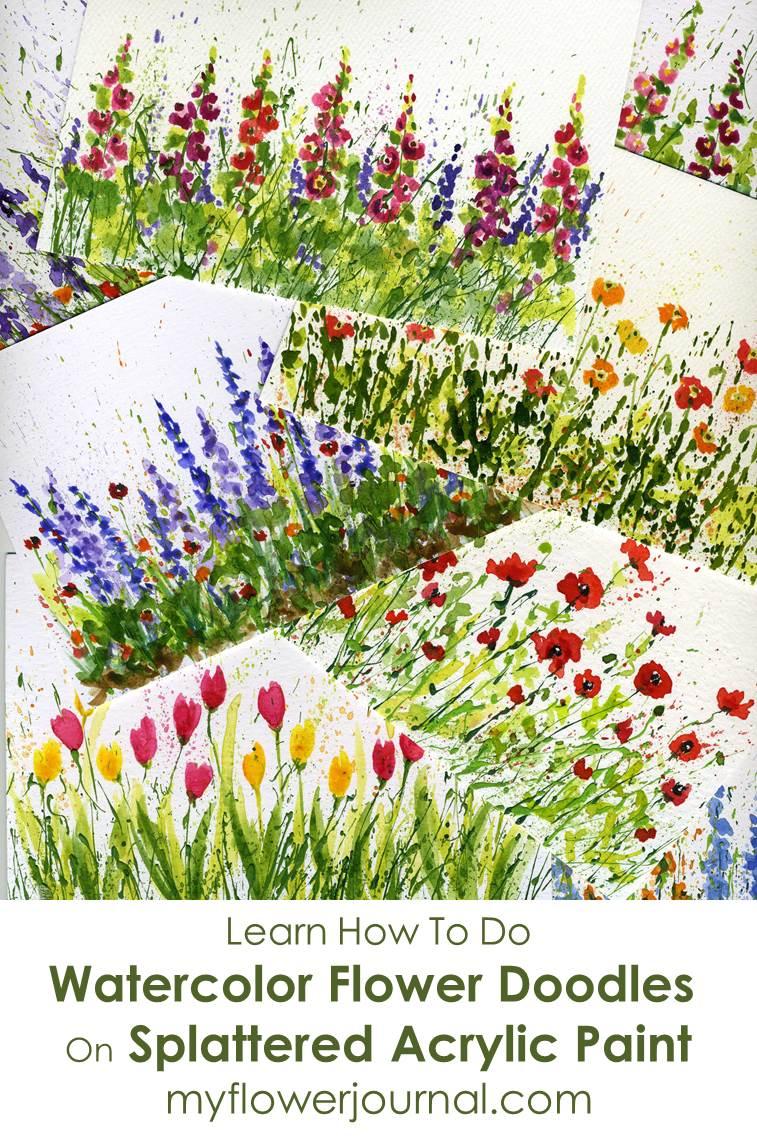 watercolor flower doodles on splattered paint