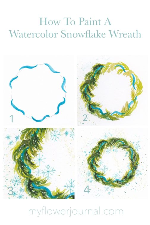 How to paint a watercolor snowflake wreath-a photo tutorial by myflowerjournal.com