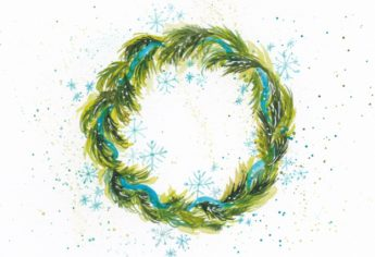Paint a Watercolor Snowflake Wreath