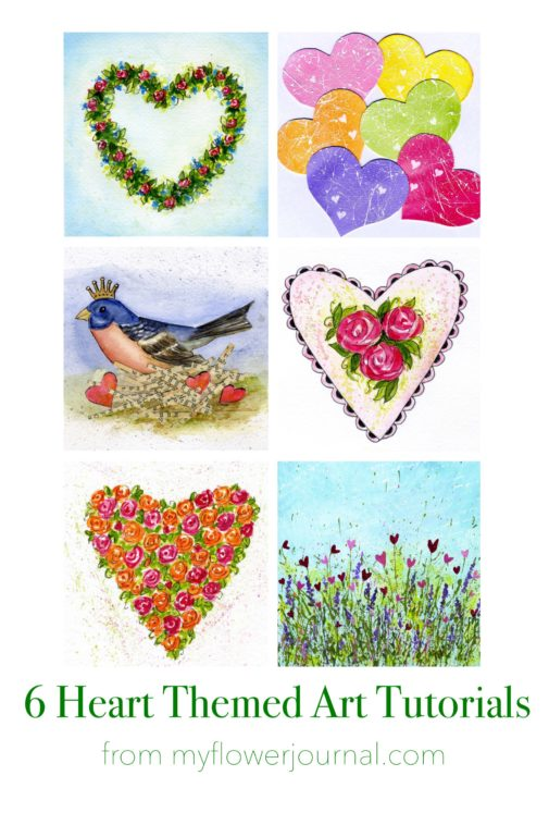 Visit myflowerjournal.com for 6 heart themed art tutorials you can use for Valentines Day art.