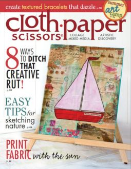 See a tutorial of Tammy Northrup's splattered paint flower art in the July/August 2014 issue of Cloth Paper Scissors.