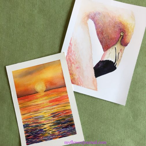 My watercolor flamingo and ocean sunset paintings I did while taking Laure Feriltas online watercolor classes. From myflowerjournal.com
