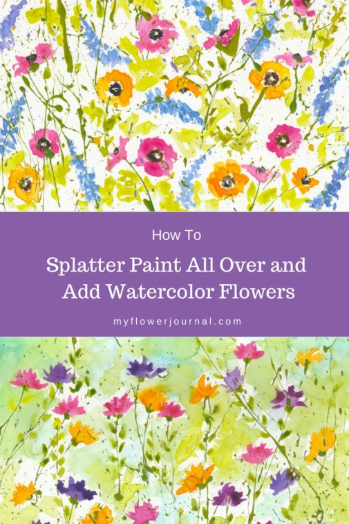 Create acrylic paint splatters in a random pattern all over a piece of mixed media paper then add watercolor flowers for a beautiful flower art design-myflowerjournal.com