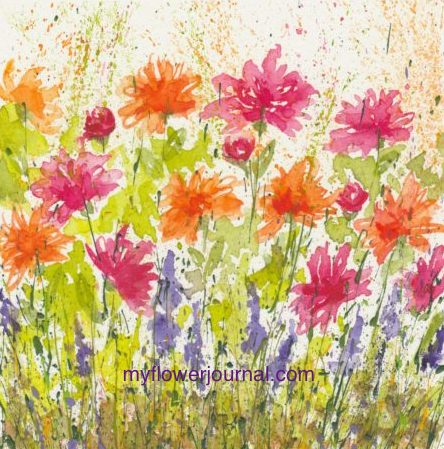 Watercolor flowers on splattered acrylic paint from myflowerjournal.com
