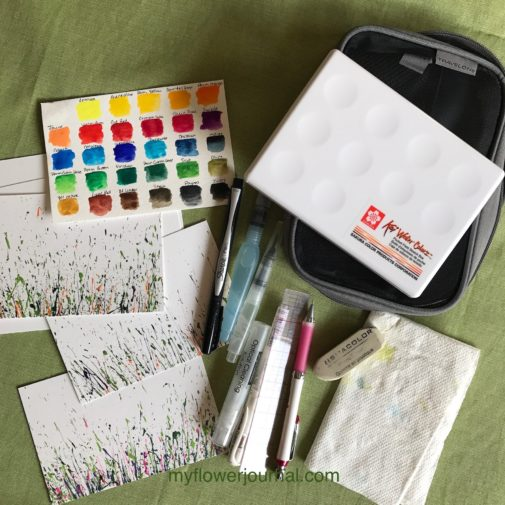 It was so fun to do some plein air painting with my Sakura Koi watercolor set in a garden near my home. I also took some watercolor postcards I had splattered with acrylic paint to add flowers to.