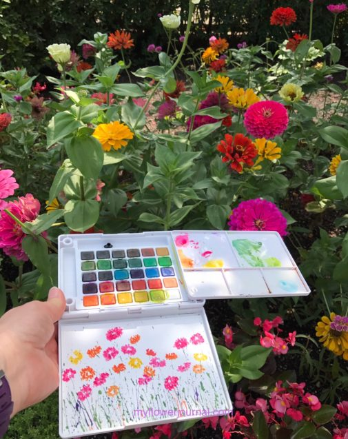 Learn my eight tips for doing plein air painting in a garden. Use these ideas to create beautiful watercolor paintings while enjoying nature. myflowerjournal.com