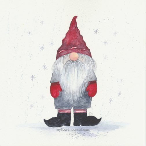 Another idea for a watercolor winter gnome that can be painted in a few easy steps from myflowerjournal.com